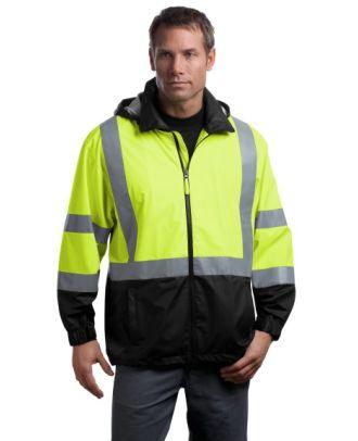CornerStone Men's ANSI Class-3 Safety Windbreaker Hi-Visibility Jacket