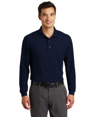 Port Authority Men's L/S Silk Touch Pocket Golf Shirt