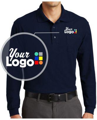 WF Men's L/S Silk-Touch Pocket Custom-Logo Golf Shirt