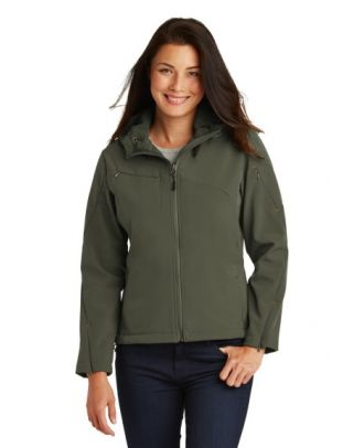 Port Authority Women's Textured Soft Shell Hooded Jacket