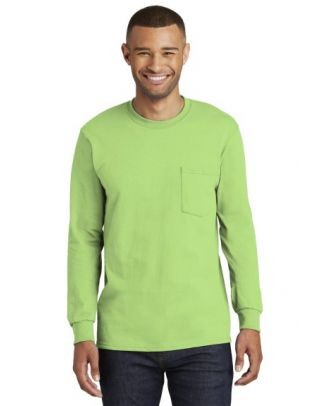 Port & Company Men's L/S Cotton Pocket T-Shirt