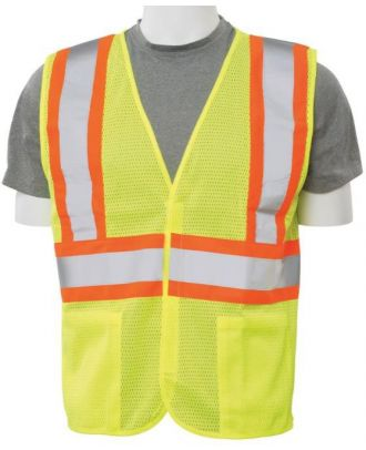 ERB Men's Velcro-Front Closure Class-2 Mesh Hi-Visibility Vest