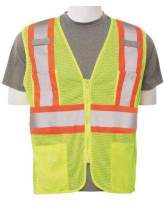ERB Men's Zip-Front Closure Class-2 Mesh Hi-Visibility Vest
