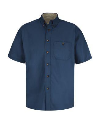 Redkap Men's S/S Cotton Contrast Dress Shirt