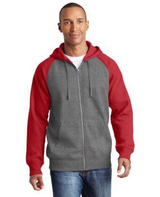 Sport-Tek Men's Raglan ColorBlock Hooded Fleece Jacket