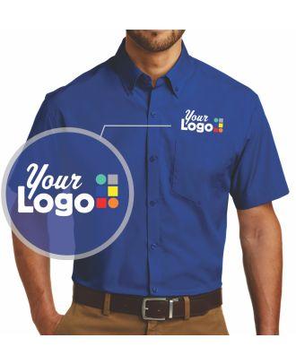 WF-BigDeal Men's S/S Carefree Poplin (100-minimum) Custom-Logo Shirt